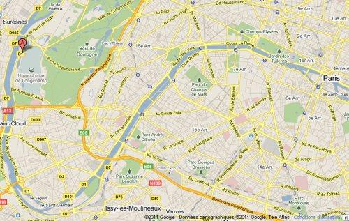 Localisation de l'hippodrome de Longchamp