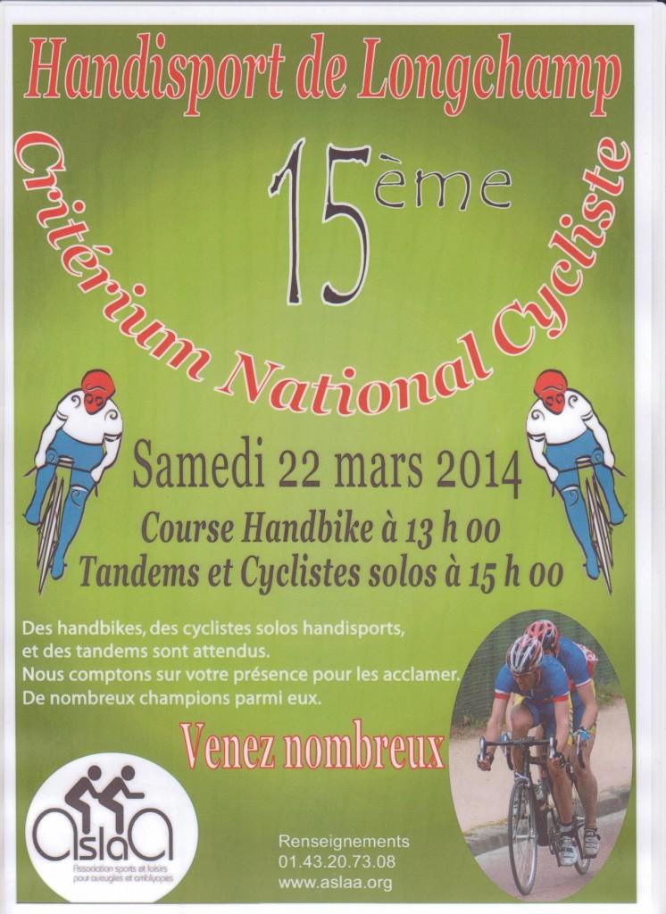 15e critérium national cycliste handisport de Longchamp.